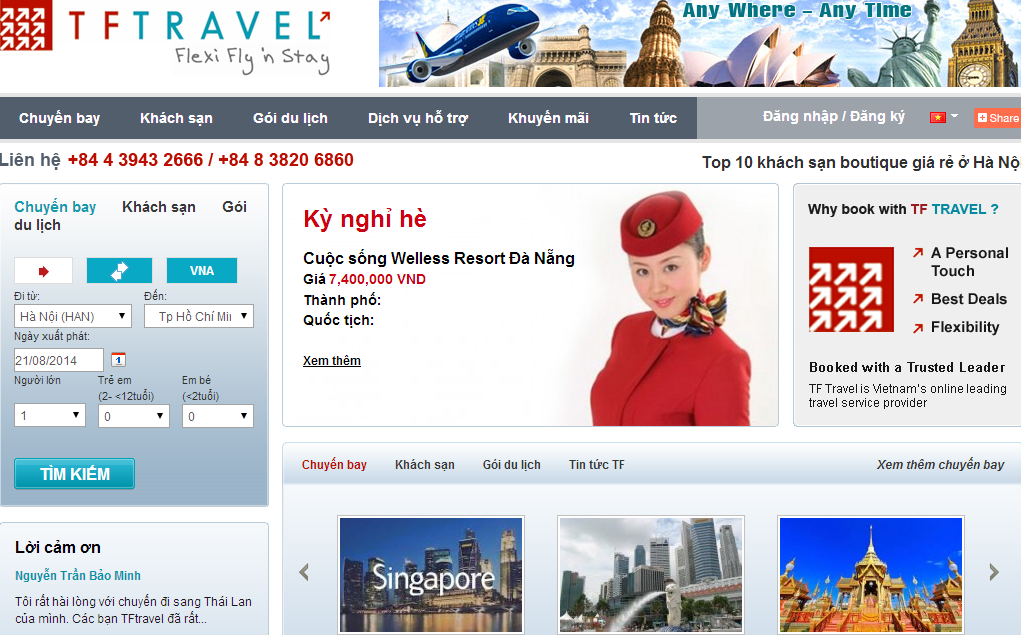 Xây dựng web du lịch TF Travel