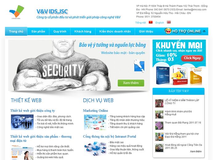 phien ban website moi cua vivicorp