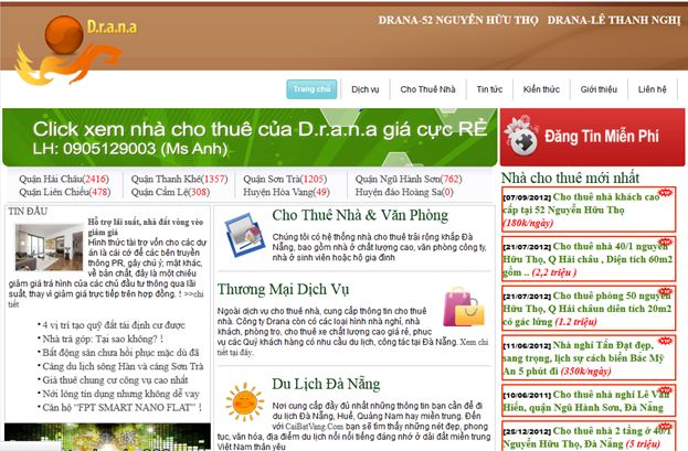 thiet ke website bat dong san drana