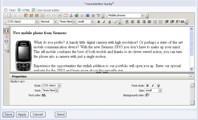 A newsletter text in the HTML editor